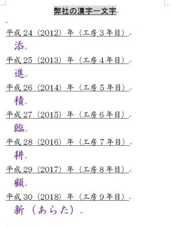漢字一文字
